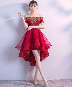 Burgundy Tulle Lace High Low Prom Dress, Burgundy Tulle Bridesmaid Dress - DelaFur Wholesale