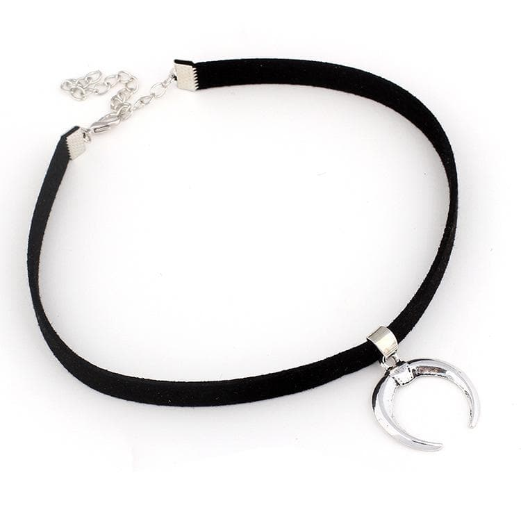 Gothic Silvery Moon Black Choker SP14212