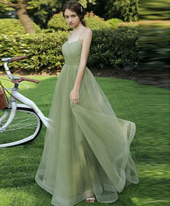 Simple Sweetheart Tulle Green Long Prom Dress Green Evening Dress - DelaFur Wholesale