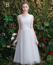 Load image into Gallery viewer, Gray Tulle Lace Short Prom Dress, Gray Tulle Bridesmaid Dress - DelaFur Wholesale