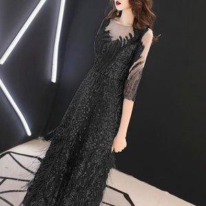 3 Colors Elegant Leaves Paillette Tulle Party Dress SP14698 - SpreePicky FreeShipping