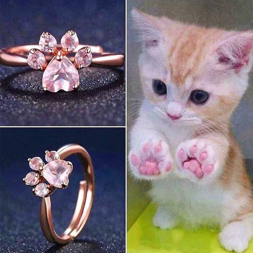 Gift Product - 925 Sterling Silver Rose Gold Cat Paw Ring S12767