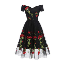 Load image into Gallery viewer, 1950s Rose Embroidery Dress SP14759 - SpreePicky FreeShipping
