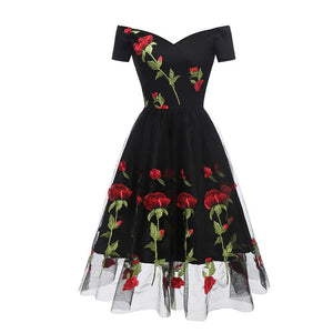 1950s Rose Embroidery Dress SP14759 - SpreePicky FreeShipping