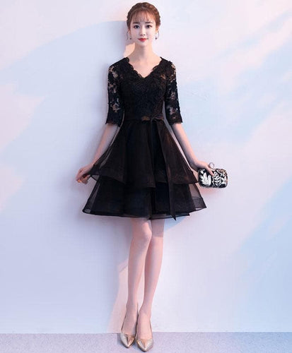 Black V Neck Lace Tulle Short Prom Dress, Black Homecoming Dress - DelaFur Wholesale