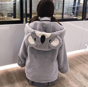 Kawaii Grey Koala Warmming Hoodie Coat SP178644