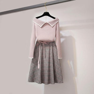 Sweet Off-Shoulder Sweater Grid Skirt Outfits SP14649 - SpreePicky FreeShipping