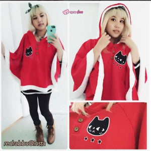 Navy/Red/Grey Sweet Girl Cutie Cat Cape Coat SP153479 - SpreePicky  - 13