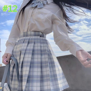 Preppy Style Long Sleeves And Plaid Skirt JK Uniform Suit SP15405