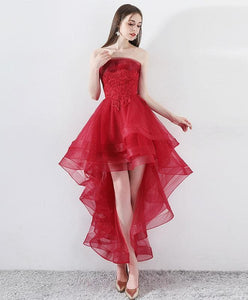 Burgundy Tulle Lace High Low Prom Dress, Burgundy Tulle Evening Dress - DelaFur Wholesale