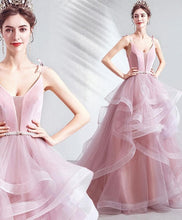 Load image into Gallery viewer, Pink V Neck Tulle Long Prom Dress Pink Tulle Evening Dress - DelaFur Wholesale