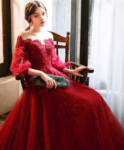 Load image into Gallery viewer, Burgundy Round Neck Tulle Beads Long Prom Dress Burgundy Evening Dress - DelaFur Wholesale