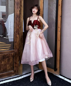 Pink Sweetheart Neck Tulle Short Prom Dress, Homecoming Dress - DelaFur Wholesale