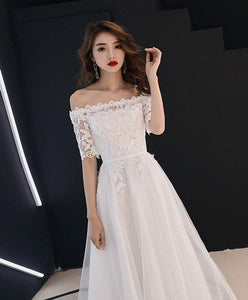 White Lace Tulle Long Prom Dress, White Tulle Lace Bridesmaid Dress - DelaFur Wholesale