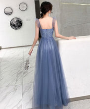 Load image into Gallery viewer, Simple Blue Tulle Long Prom Dress Blue Tulle Evening Dress - DelaFur Wholesale
