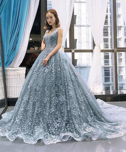 Gray Blue Tulle Lace Long Prom Dress Gray Blue Lace Evening Dress - DelaFur Wholesale