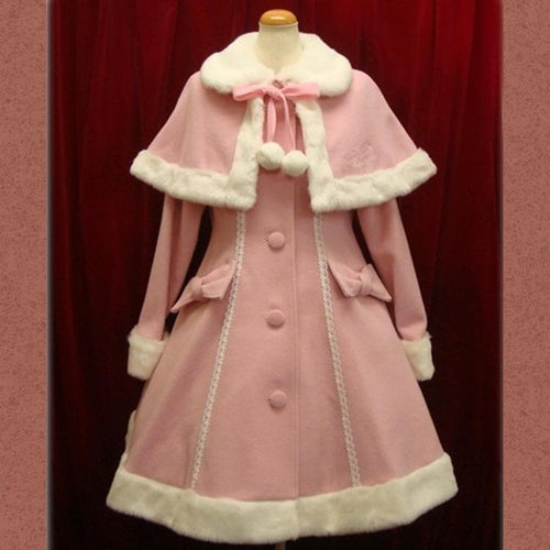 9 Colors Sweet Lace Fluffy Lolita Woolen Coat S13147