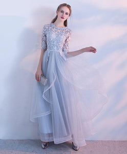 Simple Lace Tulle Gray Long Prom Dress, Gray Tulle Lace Evening Dress - DelaFur Wholesale