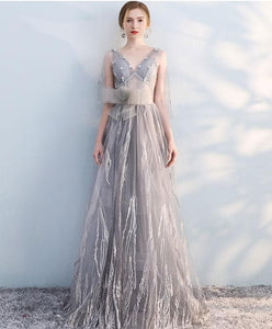 Gray V Neck Tulle Lace Long Prom Dress, Tulle Evening Dress - DelaFur Wholesale