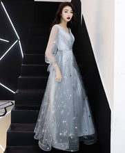 Load image into Gallery viewer, Gray V Neck Tulle Lace Long Prom Dress Tulle Evening Dress - DelaFur Wholesale