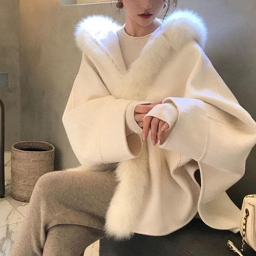 Fashion Faux Fox fur Double Faced Fur Cape Coat SS0770