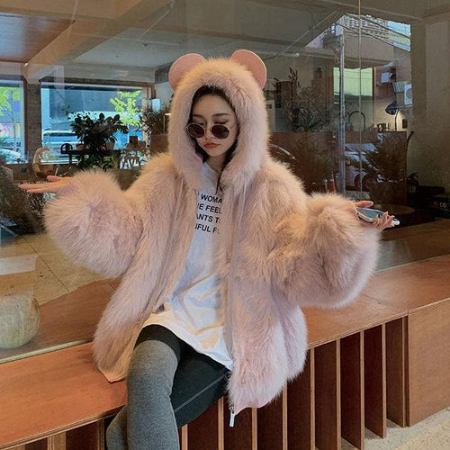 Bear Ears Faux Fur Hooded Coat SP15220
