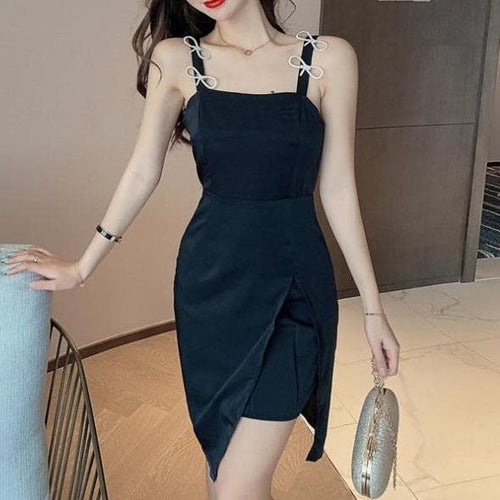 Black Cute Split slim little sexy sling diamond bow dress SS5040