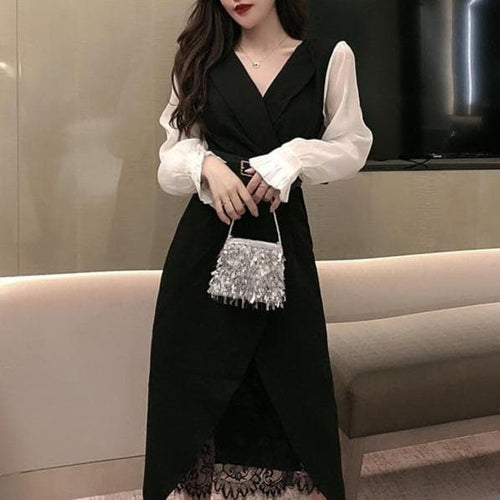 Ladies Business Suit Lace Long T-shirt A Set SS0427