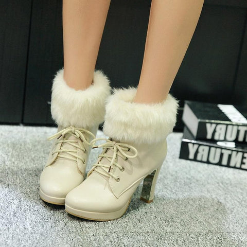 Beige/Black/Pink Sweet Fluffy High Heeled Boots SP1711206