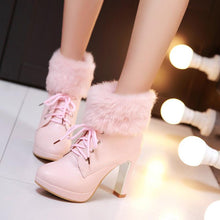 Load image into Gallery viewer, Beige/Black/Pink Sweet Fluffy High Heeled Boots SP1711206