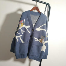 Load image into Gallery viewer, Beige/Blue/Brown Kawaii Owl Knitting Coat S12806