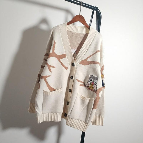 Beige/Blue/Brown Kawaii Owl Knitting Coat S12806
