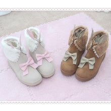 Load image into Gallery viewer, Beige/Brown Kawaii Bunny Bow Fleece Boots SP1811693