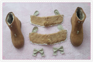 Beige/Brown Kawaii Bunny Bow Fleece Boots SP1811693