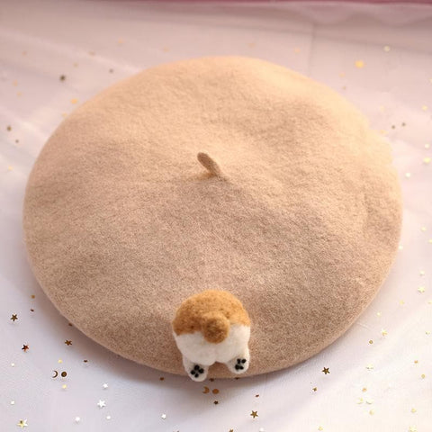 Beige/Brown Kawaii Corgi Butt Beret SP1811647