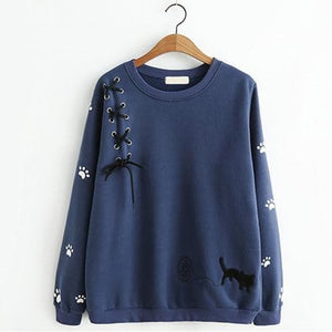 Beige/Navy/Grey Kawaii Cat Laced Jumper SP1710961
