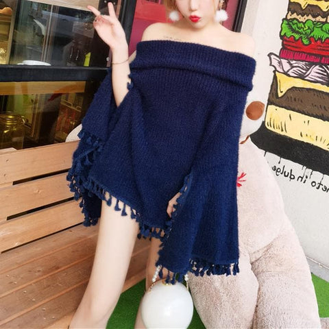 BeigeNavy Elegant Tassels Sweater Cape SP1711088