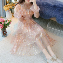 Load image into Gallery viewer, Beige/Pink Fairy Star Paillette Dress SP13676