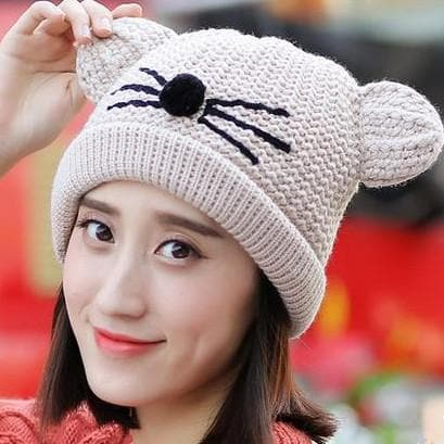 Beige/Pink Kawaii Cat Ears Knitting Beanie Hat SP1710973