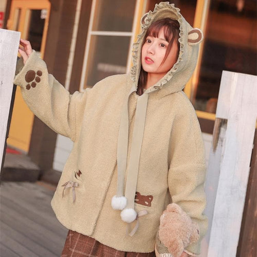 Beige Kawaii Bear Paws Hoodie Coat SP13241