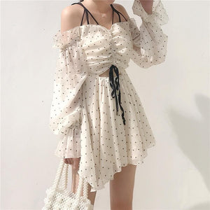 Beige Sweet Heart Laced Chiffon Dress SP13367