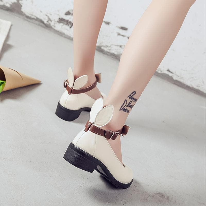 Beige/Black Bunny Ear Flat Shoes SP1711510