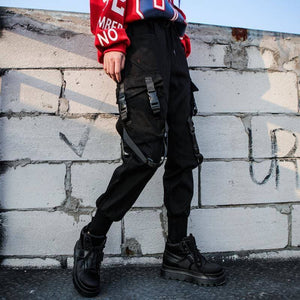 Black High Waist Cargo Pants SP14688