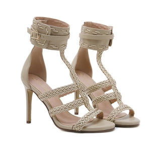 Black/Apricot Weave High Heels Sandals SP14115