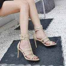 Load image into Gallery viewer, Black/Apricot Weave High Heels Sandals SP14115