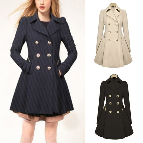 Black/Beige/Navy Double Buttons Coat SP14406