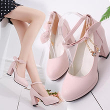 Load image into Gallery viewer, Black/Beige/Pink Sweet Bow High Heels Shoes SP14160