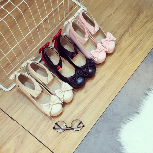 Black/Beige/Pink Sweet Bow Lolita Heels Shoes S12900