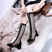 Load image into Gallery viewer, Black/Beige/Silver Laced Net High Boots SP14226 - SpreePicky FreeShipping