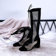Load image into Gallery viewer, Black/Beige/Silver Laced Net High Boots SP14226
